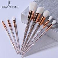 SEXYSHEEP 8 Pcs Glitter Diamond Crystal Handle Makeup Brushes Set Powder Foundation Eyebrow Face Make Up Brush Cosmetic Foundati 201008