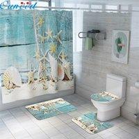 Ouneed 4 adet sahil manzara baskılar banyo duş perdesi setleri kaymaz desen su geçirmez tuvalet duş perdeleri kapak mat set 201127