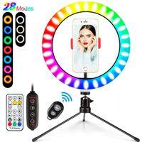 10 بوصة LED ملون عكس الضوء حلقة ضوء مصباح مع ترايبود حامل USB الصور الشخصية للضوء حلقة RGB Ringlight TikTok مشاركة في مدونة فيديو صور الهاتف مصباح فيديو