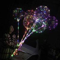 LED Bobo ballon avec 31.5inch bâton 3M chaîne Ballon LED de Noël Halloween de fête d'anniversaire Ballons Décor Ballons Bobo