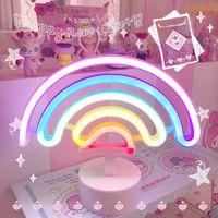 Rainbow Unicorn Neon LED Lampada notturna Lampada da letto Camera da letto Camera da letto calda notte luce decorazione 3D acrilico tavolo da tavolo da tavolo Regali