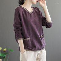 Johnature Kadınlar Çift Pamuk Vintage T-Shirt Cepler V Yaka Uzun Kollu 2020 Bahar Yeni Patchwork Renk Gevşek Kadın T-Shirts1
