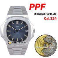 جديد PPF 5711 / 1A-010 5711 324SC 324CS التلقائي رجل ووتش D-Blue الملمس الطلب الفولاذ المقاوم للصدأ سوار 40MM الرياضة الساعات HWPP Hello_Watch