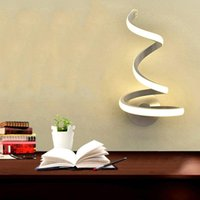 Wall Mount Acrylic Metal TV Background Sconces Lamps Bedside Room Bedroom Wall Decor Arts Creative Spiral LED Light