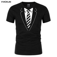 Erkek T-Shirt 2021 Yaz Erkekler Pamuk T Shirt Sahte Suit Kravat Komik Baskı T-Shirt Rahat O-Boyun Kısa Kollu Tişört Üst Tees Artı Boyutu