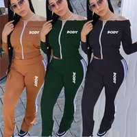 Women Designers Clothes Body Letters Off Shoulder Long Sleeve Zipper Jacket Pants Embroidery Two Pieces Outfits Sports Suits D102805