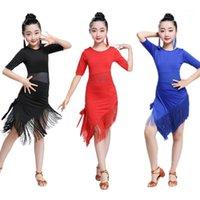 Novità Tassel Dance Latin Dance Abito per Dancing Bambini Ragazza Competizione Costumi adulti Femmina Balloom Balloom Salsa Tango Pratica Abbigliamento 1