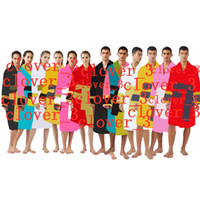 Diseñador para hombre lujo clásico algodón albornoz hombres mujeres marca ropa de dormir kimono cálido baño bata ropa unisex bathrobes klw1739