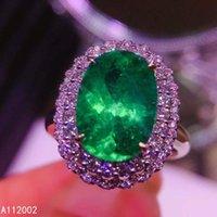 KJJeaxcmy Bel gioielli naturale smeraldo 925 sterling sterling sterling nuovo gemstone regolabile donne anello supporto test bellissimo lusso