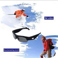 Mini cámaras HD 1080p cámara gafas inteligentes negro / naranja Lente polarizada Gafas de sol Deporte de acción Video con tarjeta SD Slot1