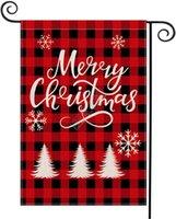 Noel Bahçe Bayrak Dekorasyon Çift Yan Damalı Kırmızı Ekose Letter Tasarımcılar Festivali Courtyard Banner Bayraklar 47 * 32cm D92507 Asma
