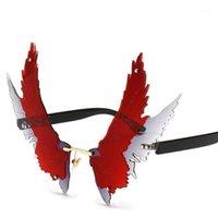 선글라스 패션 대형 독특한 날개 모양 여성 빈티지 무선 맑은 자주색 녹색 빨간 안경 남자 독수리 안경 1