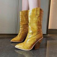 Automobilreparatur-Kits Keilstiefel Chaussures Femmes Automne-Hiver Laaren Dames Western Cowboy Women1