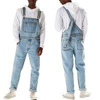 Erkek Jeans Mavi Denim Pantolon Gündelik Genel Suspender Pantolon Erkek Kot Tulumlar Sonbahar Vintage Denim Pantolon