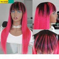 Parrucca colorata rosa Lunga capelli umani peruviani remy remy parrucca di ombre per le donne nere Radici scure 1B Pink Glueless Parrucche con Bangs pre Piumino