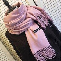 スカーフの女性ソリッドカラーカシミア - タッセルレディー冬の秋の長いスカーフの思想家暖かい女性ショール男性の芝生