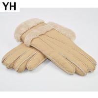 Cinco dedos Guantes 2021 Mujeres Diseñador Real Sheepskin de piel de lana de piel de piel Chicas encantadoras Mitones de invierno muy cálido1