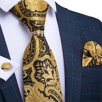 Pantaloni da uomo cravatta uomo cravatta oro paisley cravatta di nozze per anello Set Set Set di seta Hanky Gemelli Dibangu Designer Business JZ03-71921