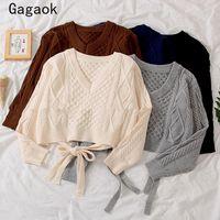 Sweaters pour femmes Gagaok Office coréen Lady Spring / Automne Femmes 2021 Col V courtes pleines pleines pleines de dentelle Simple Chic Sauvage Pulls K4016
