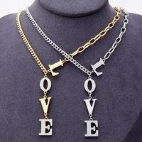 Titanium Steel Plated 18K Золотая Любовь Письмо Толстые Ожерелье Ювелирные Изделия Подходит для Пару Ожерелья