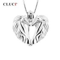 CLUCI 925 Romantic Love Cavallo Donne 925 Sterling Silver Jewelry Victoria Ala a forma di cuore perla Locket