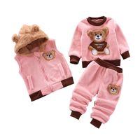 Vêtements pour bébé Set automne et l'hiver en coton épais chaud Bébés garçons Vêtements de loisirs Veste à capuche mignon 3Pcs bébé costume Y1113