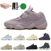 Adidas Yeezy 500 yeezys boost Com Caixa macia Visão Kanye West Mulheres Homens Running Shoes Venda Osso Branco Super Lua amarela Designer Trainers Sneakers Tamanho Eur 46