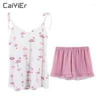 CAIYIER 2019 Sexy algodón pijama pijama rosa flamencos verano ropa de noche sling v-cuello sin mangas cami tops shorts casual sleepwear1