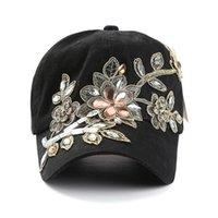 Hip boné de beisebol LVTZJ Nova Primavera Denim Cotton Snapback Hat Verão Cap Rhinestone Floral Hop Chapéus para mulheres Grinding Multicolor 201019