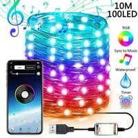 2M-20M LED Şerit Işıklar Yılbaşı Ağacı Dekorasyon Lambası USB Bluetooth Tatil Renkli Işıklar Su geçirmez Açık Dekoratif Işıklar Y201020