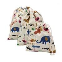 Cadeau envelopper 1pc dessin animé animaux imprimés sacs de rangement bébé vêtements enfants jouets enfants drawstring coton lin bijoux cosmétique pochette