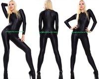 Unisex Black Lycra Spandex Catsuit Kostüm Outfit Sexy Frauen Männer Körper Anzug Yoga Kostüme Front Zipper Halloween Party Fancy Kleid Cosplay Bodysuit P423