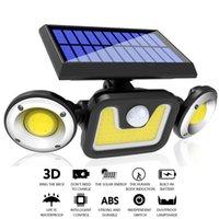 2020 neue Solarwandlampen-Bewegungs-Sensor-LED Rechargable Solar Light Drei-Kopf Drehbare im Freien wasserdichten Straße Wandleuchte