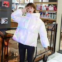Casaco de inverno Mulheres elegante down jaqueta de algodão casacos e jaquetas mulher roupas moda colorido laser femme vestes tn1027
