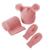 3pcs Conjunto de sombrero de bufanda de sombrero cómodo para niños Niños Infantil Invierno1