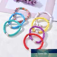 Boho Rainbow Imitation Pearl Charms Bracelet Bangle Polymer Clay Beaded Elastic Bracelets for Women Jewelry