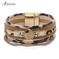 Amorcome pelle bohemien leopardo per le donne Bracciali Moda 2020 braccialetti a cristallo largo Gioielli braccialetto dell'involucro