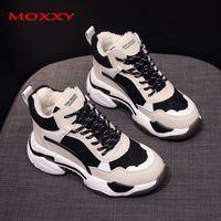 Moxxy Kış Yüksek Platformu Sneakers Kadınlar 2020 Yeni Yüksek Top Sneakers Basket Femme Ilık Peluş Baba Chunky Sneakers Kadın Ayakkabı 1020