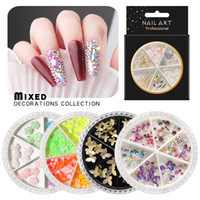 AB Cristal Nail Strass Divers 3D Papillon résine rose fleur Ornements Flakes Shell naturel Métal Nail Art Décorations