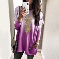 Kadın Bluzlar Gömlek Payetli Moda Noel Geyik Baskı Bluz Artı Boyutu Rahat Kış Bayanlar Gevşek Kadın Kadınlar Uzun Kollu SHI Tops