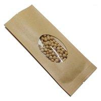 Hediye Paketi 50 adet Kahverengi Açık Üst Kraft Kağıt Yan Gusset Isı Mühür Paketi Çanta Vakum Mühürlü Somun Saklama Torbaları Temizle Pencereli1