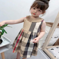 Nouveau 2021 enfants vêtements design design filles robes de mode estivale bébé filles plaid jaillies filles nouveau-nées robe d'été enfants princesse bébé robe