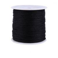 Filato 100m x 0.8mm Nylon Knot Knot Cappello rattail Macrame Shamballa Filo String Black / Red1