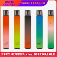 Ezzy Supper 2in1 Kit de périphérique de pod jetable 1000 + 1000buffs 900mAh Batterie 6.5ml Pods Vape Stylo Vaporiseurs vs Puff bar max DHL Free