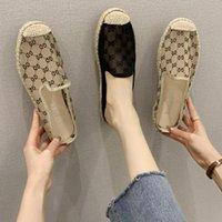 Kadınlar ayakkabıları 2020 yaz yeni net kırmızı yarım terlik kadın çim dokuma balıkçı ayakkabı Baotou nefes serin dantel