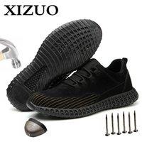 Xizou Hombre Malla al aire libre Luz Transpirable Zapatillas de seguridad Desodorante Antiestático New Design No-Slip Hombres Botas Dropshipping 201126