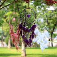 Handmade Flower Dream Catcher Circular With Feathers Pendant...