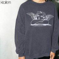 Klalien Kadınlar Açı Baskı Hoodies Rahat Gevşek Boy Uzun Kollu Tişörtü Sonbahar Kış Moda Streetwear Kıyafet 201203