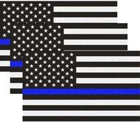 자동차 트럭, 5 x 3 인치 아메리칸 미국 국기에 대 한 얇은 파란색 라인을 가진 반사 미국 국기 데칼 팩, 경찰 법을 기리는 데칼 스티커