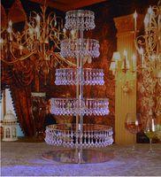 7 Nivel pastel de bodas de la lámpara de cristal del claro de la torta Soportes torre de la magdalena de la boda del soporte centrales de la tabla del partido